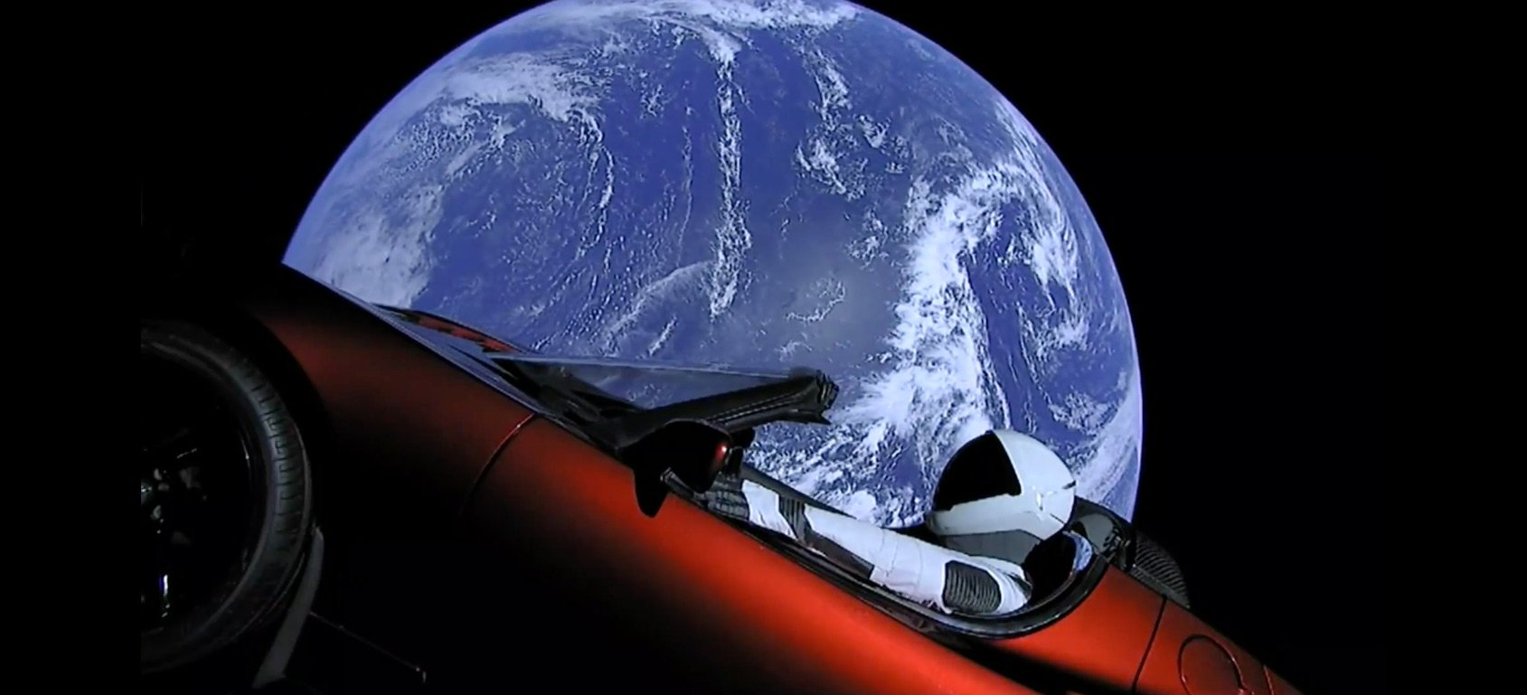 "A view of ""Starman"" in the Tesla Roadster launched into space on the SpaceX"